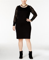Calvin Klein Plus Size Lace-Sleeve Sweater Dress