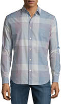 7 For All Mankind Large Plaid Long-Sleeve Sport Shirt, White