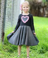 Me & Ko Charcoal Heart Skater Dress - Girls