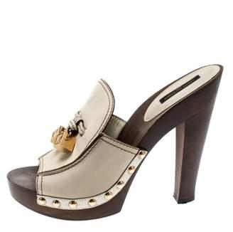 Louis Vuitton Beige Leather Mules & Clogs