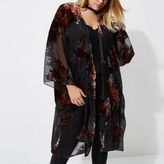 River Island Womens Plus black sheer floral duster coat