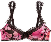 Agent Provocateur June Lace-trimmed Floral-print Stretch-silk Balconette Bra - Pink