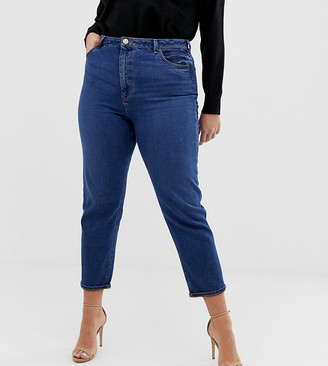 Asos DESIGN Curve Recycled Farleigh high waisted slim mom jeans in dark wash-Blue