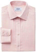 Classic Fit Non-iron Windowpane Check Orange Cotton Formal Shirt Single Cuff Size 16/38 By Charles Tyrwhitt