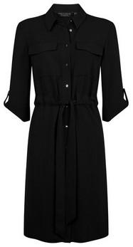 Dorothy Perkins Womens Black Drawstring Shirt Dress, Black