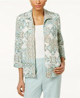 Alfred Dunner Petite Open-Front Medallion-Print Jacket