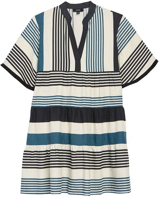 MSK Split Neck Striped Dress