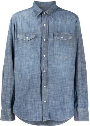 Eleventy Pointed Collar Denim Shirt