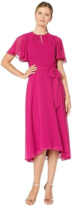 Tahari ASL Solid Chiffon Midi Dress w/ Flutter Sleeve and Self Side Tie (Fuchsia) Women's Dress