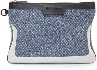 DEREK/S Aqua Sneaker Knit Fabric and Vacchetta Document Holder