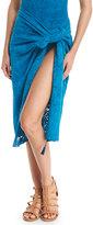 Fuzzi Lace Tassel-Detail Pareo, Turquoise