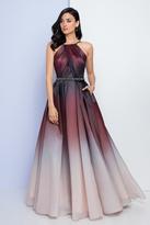 Terani Couture 1722E4201 Halter Neckline Ombre Evening Gown
