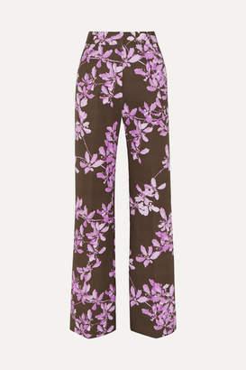 Dries Van Noten Floral-print Cotton-twill Wide-leg Pants - Gray