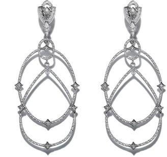 Loree Rodkin 18kt white gold Michelle diamond pave earrings