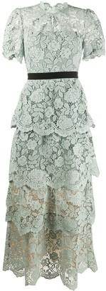 Self-Portrait Layered Lace Maxi Dress