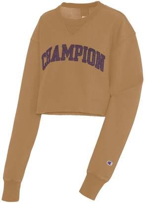 Champion Logo Cropped Cotton-Blend Sweatshirt