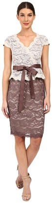 Adrianna Papell Women's Two Tone V-Neck Scroll Lace Cocktail Dress