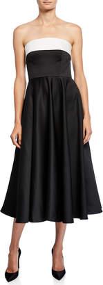 Jay Godfrey Bicolor Colorblock Strapless Cuffed Bustier Midi Dress