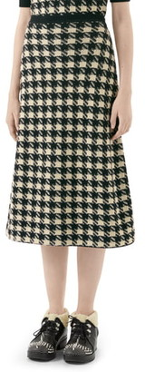 Gucci Houndstooth Jacquard Cashmere & Silk Midi Sweater Skirt