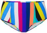 Diane von Furstenberg Striped High-rise Bikini Briefs - Azure