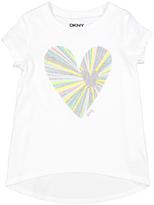DKNY Bright White Glitter Heart Hi-Low Tee - Toddler