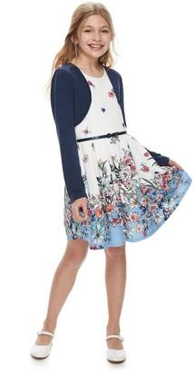 Knitworks Girls 7-16 & Plus Size Knit Works Floral Skater Dress & Shrug Set