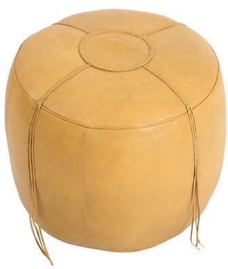 Bungalow Rose Anakin Leather Pouf Ottoman Upholstery Color: Natural