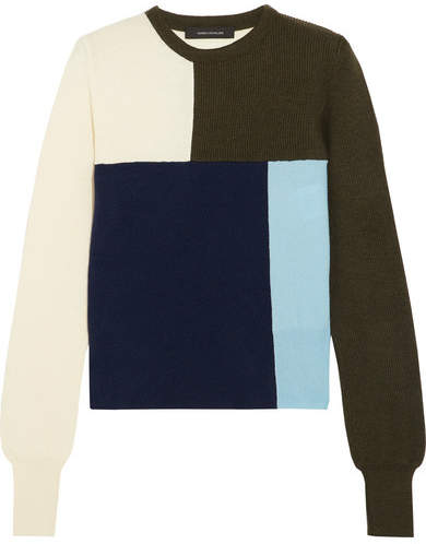 Cédric Charlier Color-block Wool And Cashmere-blend Sweater - Navy