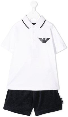 Emporio Armani Kids Polo Shirt And Shorts Set