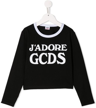 Gcds Kids Slogan Print Jersey Top