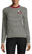 Tory Burch Stripe-Print Heart-Patch Cashmere Sweater, Black/White