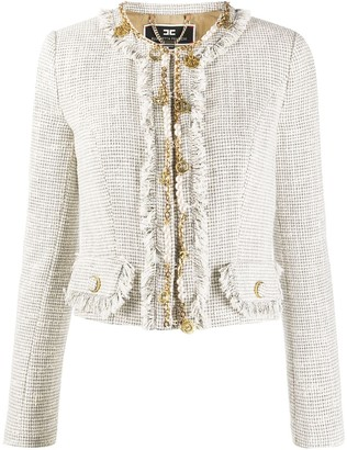 Elisabetta Franchi Chain-Trimmed Fringed Tweed Jacket