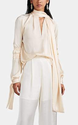 Juan Carlos Obando Women's Washed Satin Tie-Neck Blouse - Beige, Tan