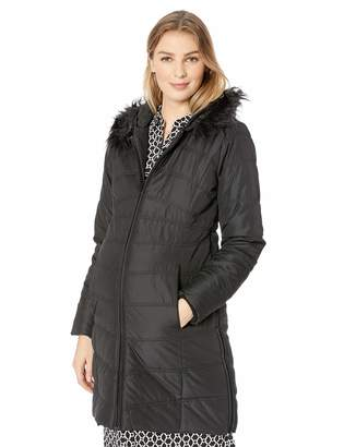 Motherhood Maternity Women's Maternity Quilted Puffer Coat with Attached Hood and Faux Fur Trim