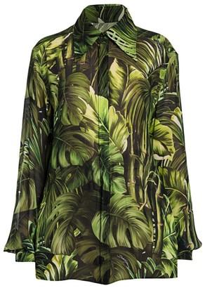 Dolce & Gabbana Tropical-Leaf Print Georgette Blouse