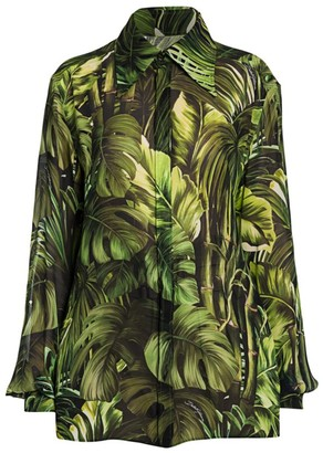 Dolce & Gabbana Tropical-Leaf Print Georgette Blouse