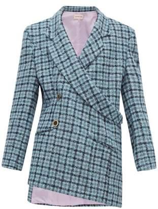 Natasha Zinko Asymmetric Double Breasted Checked Tweed Blazer - Womens - Blue