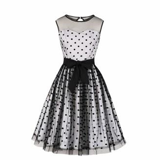 Wellwits Women's Black Polka Dots Tulle Layer Tie Waist Cocktail Vintage Dress 2XL
