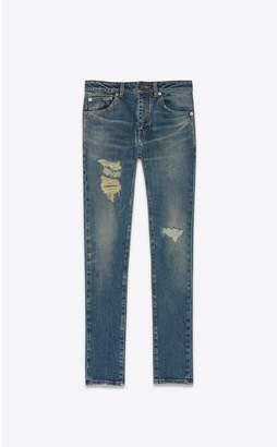 Saint Laurent Skinny Jeans In Used-Look Dirty Sandy Blue Denim
