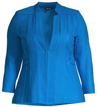 Misook Misook, Plus Size Notch-Collar Textured Knit Blazer