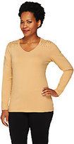 Liz Claiborne New York Long Sleeve T-Shirt with Knot Detail