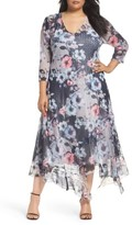 Komarov Plus Size Women's Handkerchief Hem Floral Charmeuse & Chiffon Dress