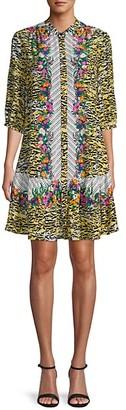 Saloni Mixed-Print Silk Shift Dress