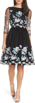 Chi Chi London Baroque Embroidered Flower Tea Dress