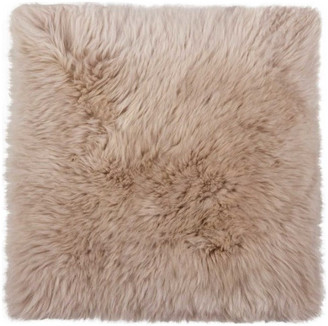 """HomeRoots 17"""" x 17"""" Natural, Sheepskin Seat/Chair Cover, Taupe"""