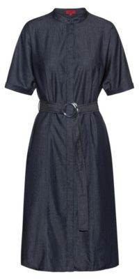 HUGO BOSS Stand Collar Shirt Dress In Italian Denim - Open Blue