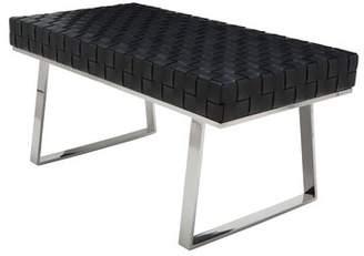 Orren Ellis Hyperion One Seat Leather Bench Orren Ellis Color: Black