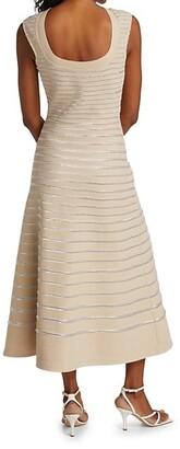 St. John Metallic Knit Low Back Dress