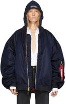 Vetements Reversible Navy Alpha Industries Edition Hooded Bomber Jacket