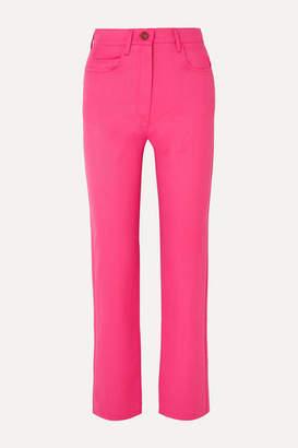 Kenzo Cropped Wool-blend Gabardine Straight-leg Pants - Fuchsia